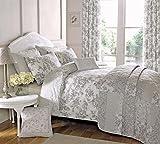 Malton Elegant Floral Design Duvet Cover Set In Slate Grey By Dreams N Drapes - Double by Dreams 'n' Drapes