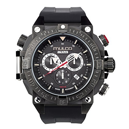 Mulco MB6-92565-025 Buzo Dive Stainless Steel Black Silicone Band