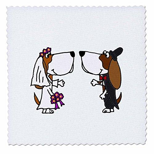 _ 4Funny Basset Hound Hunde Bride & Groom Hochzeit Cartoon Quilt Platz, 12von 30,5cm (Quilt Square Hund)