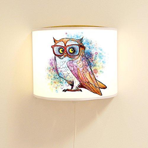 ilka parey wandtattoo-welt® Leseschlummerlampe Leselampe Schlummerlampe Wandlampe Kinderlampe Lampe bunte Eule farbenfroh mit Brille Ls51