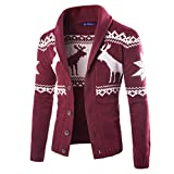 Elecenty Herren Weihnachten Sweatshirt Sweater Strickjacke Cardigan Christmas Männer Xmas Knitwear Coat Jacket Weihnachtspullover Pullover Strickpullover Strickmantel Strickwaren (XXL, Weinrot)