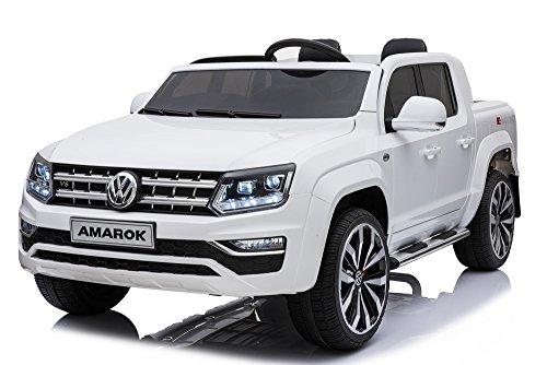 Mondial Toys Coche Eléctrica para Niños 2Plazas Pastilla 2x Baterías 12V 4x Motor Volkswagen Amarok 4x 4AWD con Asiento de Piel Ruedas de Goma Mando Blanca
