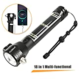 FLOWood 18 in 1 LED Flashlight Rechargeable Solar Power Tactical Flashlight,Multi-Functional Waterproof Flashlight
