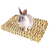 Bolonbi 2 Pack Animal Chew Toy Beds, Natural Woven Grass Mats Bunny Bedding Nest for Guinea Pig Parrot Rabbit Bunny Hamster Rat