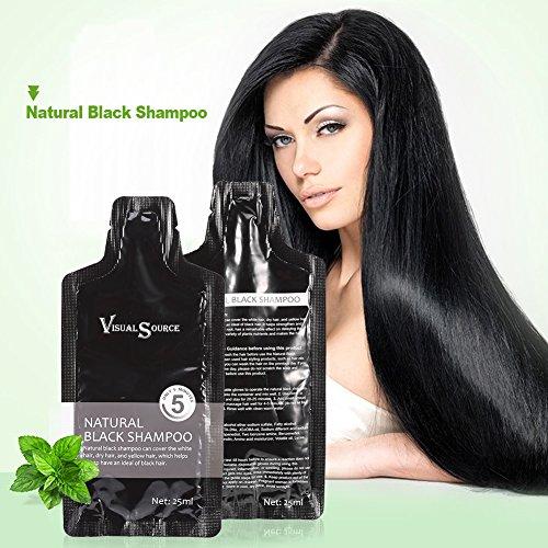 Schwarz Haar Shampoo, 2PCS Natürlich White Hair Removal Dye Haarfärbeshampoo + Einweg Handschuh