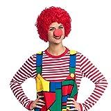 Kostümplanet Clown Perücke rot mit Clown-Nase Zubehör Set Clown-Kostüm