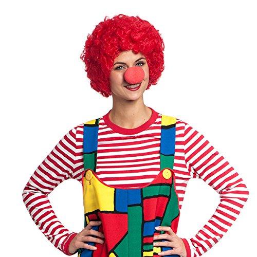n Perücke rot mit Clown-Nase Zubehör Set Clown-Kostüm ()