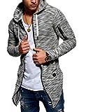 MT Styles Herren Strickjacke mit Kapuze Sweatjacke Kapuzenpullover Pullover MT-7532 [Schwarz, XL]