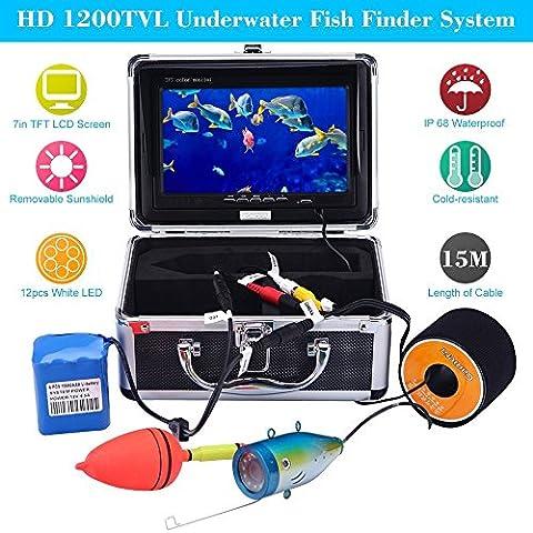 KKMOON HD Caméra 1200TVL 15M Underwater Fish Finder Sous-marin pour Pêche Glace / Mer / Rivière avec 7in Couleur LCD Moniteur Capteur CMOS 12 LED Vision Nocturne