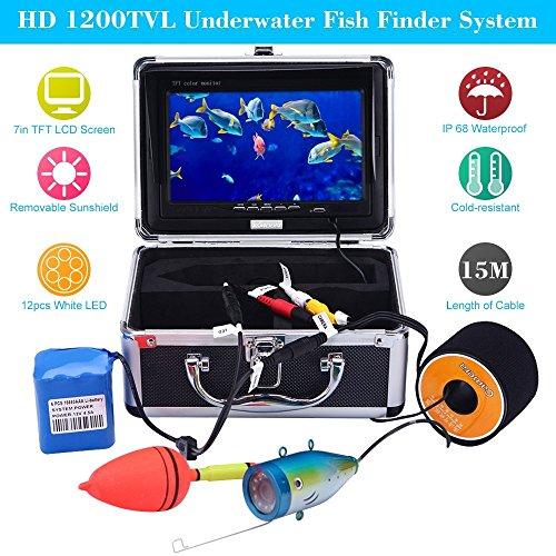 KKmoon Fischfinder Kamera 15M Unterwasser HD 1200TVL für Eis / Sea / Fluss Angeln mit 7 Zoll LCD Monitor