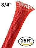 """3/4"""" PET Expandable Braided Sleeving - 25Ft (Red)"""