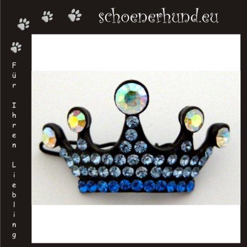 Artikelbild: Haarschmuck für Hunde mit funkelnden Strass - Exklusive Haarspange von Dogs Stars - Krone blau