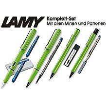 Lamy Safari Set [Füller + Kugelschreiber + Tintenroller + Bleistift] (inkl. Ersatzminen + Patronen, Grün - Green)