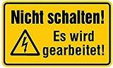 Magnetfolie Nicht schalten! Es wird gearbeitet Folie magnetisch 120 x 200 mm (Warnhinweis, Schild) praxisbewährt, wetterfest
