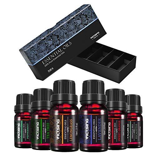 VicTsing Aceites Esenciales para Difusor,100% Pure Natural,Perfume de Aromaterapia, 6*10ml-Naranja Dulce, Lavanda, Arbol de Té, Hierba de Limón, Eucalipto y Menta,etc.Rojo