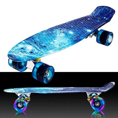 Buyi-World Mini Cruiser Skateboard Crystal LED-Leuchten Räder 22 Zoll Fishboard für Anfänger, Jugendliche und Erwachsene, Tragfähigkeit bis zu 80 kg