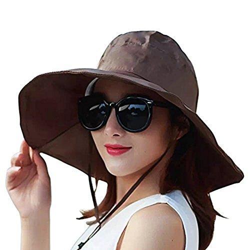 Regenhut UV UPF 50 Sonnenschutz breite Krempe Sonnenhut Faltbarer Eimer Hut, Damen, braun, Einheitsgröße ()