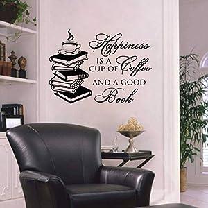 SJXWOL Adesivo da Parete Frasi Scritte Adesivo Preventivo, La Felicità è Una Tazza di caffè e Un Buon Libro, Vinyl…