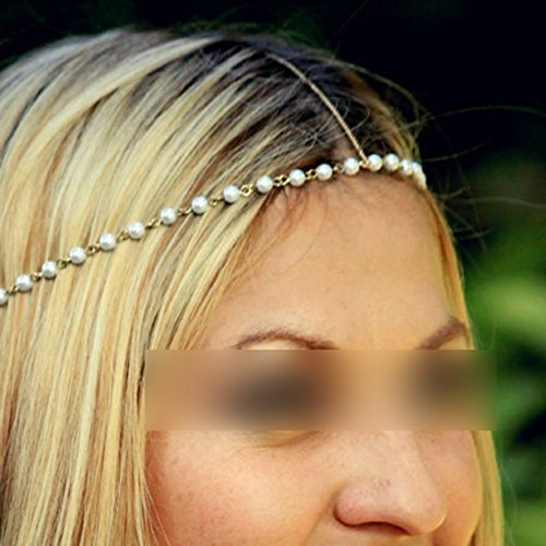 flyyfree Pretty Boho Frauen Elastic Künstliche Perlen Haarband Gold Stirnband Kette Genickstück