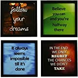 Indianara 4 Piece Set of Framed Wall Hanging Motivational Office Decor Art Prints 8.7 inch X 8.7 inch Without Glass
