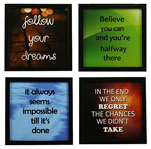 Indianara 4 Piece Set Of Framed Wall Hanging Motivational Office Decor Art...