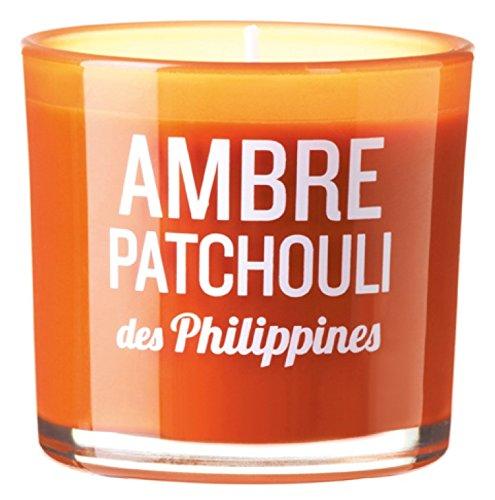DEVINEAU 1612824 Bougie Verre Coloré et Sérigraphie Ambre Patchouli des Philippines Vert Lime