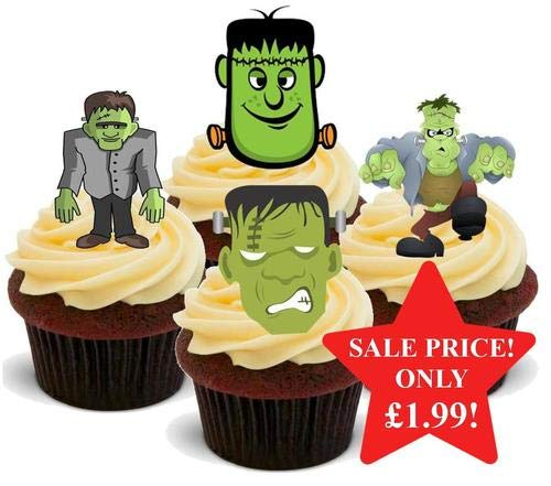 Halloween Frankenstein Mix - 12 essbare hochwertige stehende Waffeln Karte Kuchen Toppers Dekorationen, Halloween Frankenstein Mix - 12 Edible Stand Up Premium Wafer Card Cake Toppers Decorations