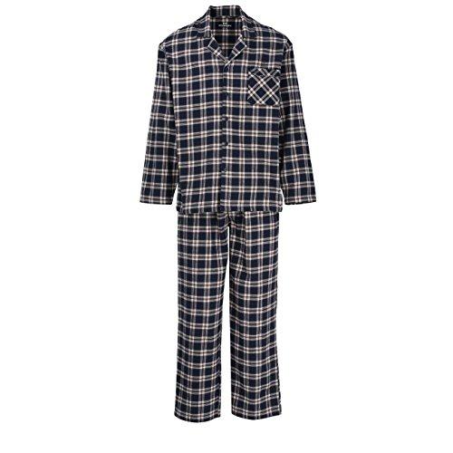 GÖTZBURG Herren Pyjama, langarm, Baumwolle, Flanell, blau, kariert, mit Eingriff 52