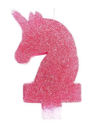 Einhorn-Kerzendekoration, rosa Glitzer, Geburtstagsparty, Mädchen Wachs