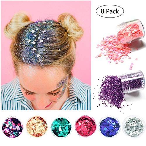 Glitter Sequin Chunky Glitter, Bofekt Festival Kosmetik Glitzer für Gesicht Nägel Lippen Haare Körper Make Up Glitzer Pailetten für Party Clubs Weihnachten (8 Farbe)