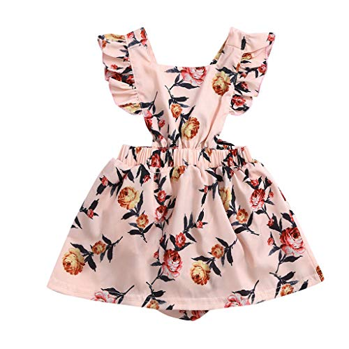 Softshell Overall Newborn Infant Ruffled Straps Floral Romper Bodysuit Summer Clothes -