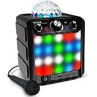 ION Audio Party Rocker Express - Altavoz Bluetooth para fiestas de karaoke con Show de luces LED, micrófono, efecto eco incorporado y puerto de carga USB