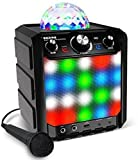 ION Audio Party Rocker Express – Tragbares, batteriebetriebenes 40W Bluetooth-Party-Lautsprechersystem und Karaoke-Center mit Partylichtkuppel, LED-Gitter und Mikrofon