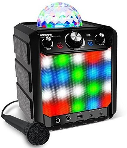 ION Audio Party Rocker Express - Altavoz Bluetooth para fiestas de karaoke con Show de luces LED, micrófono, efecto eco incorporado y puerto de carga USB