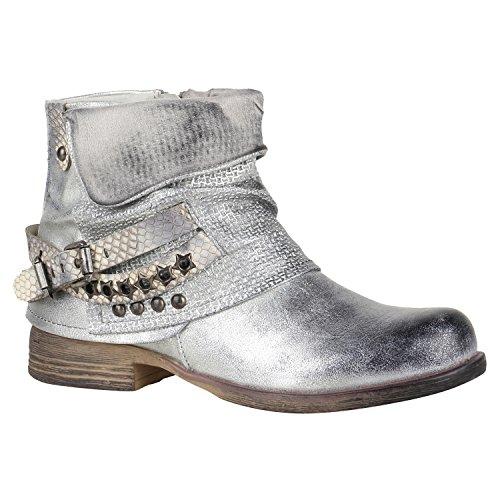 Stiefelparadies Damen Stiefeletten Biker Boots Nieten Schnallen Leder-Optik Schuhe 148774 Silber Glitzer 36 Flandell