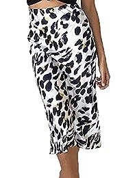 0ac3610147 Primavera Otoño Mujeres Midi Falda Elegante Moda Leopardo Impreso Faldas  Sexy Paquete de Cadera Falda de