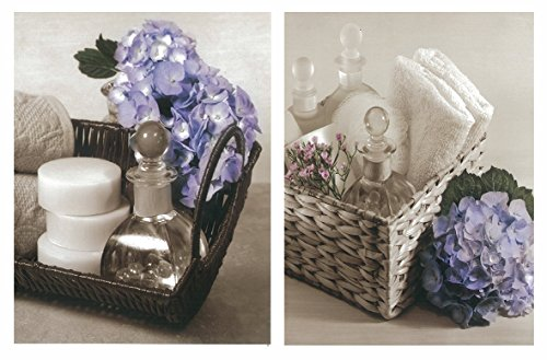 Cuadros baño Florales Blanco Negro hortensias violetas