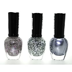 1+Eye+Products Silver Addiction 3 Piece Color Nail Lacquer Combo Set -Sheer Lilac Lining Glitter