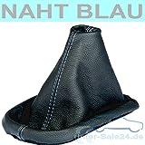 Soufflet du levier de vitesse VW Passat 3B 3BG . cuir noir, fil couture bleu
