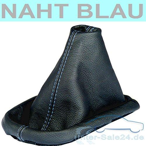 L&P A0032 Soufflet Sac Manchette manchon de commutation 100% cuir véritable veritable noir noire couture fil bleu bleue transmission manuelle boîte boite vitesse vitesses changement vitesse