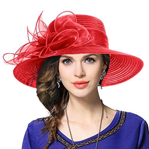 VECRY Damen Oaks Derby Kirche Taufe Kleid Tea Party Hochzeit Sonnenhüte (Rot) (Frauen Tea-party-hüte)