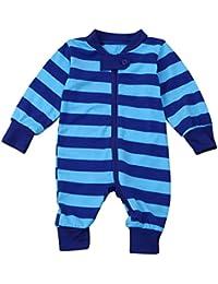 Vovotrade Niñito Infantil Bebé Niña Niño Manga Larga Raya Cremallera Mameluco Mono Algodón Suave Pijama Conjuntos 0-2 años