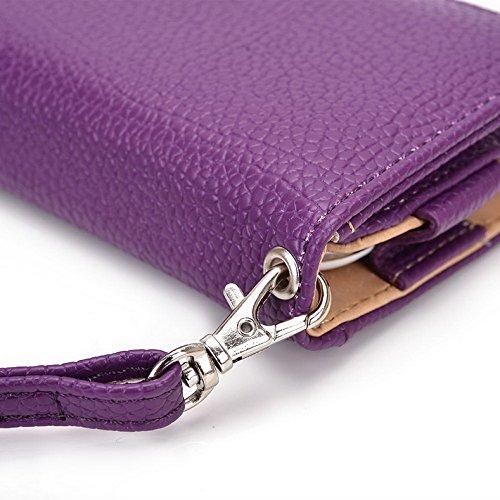 Kroo Pochette Téléphone universel Femme Portefeuille en cuir PU avec dragonne compatible avec Wiko Ridge 4G/Highway Star 4G Violet - violet Violet - violet