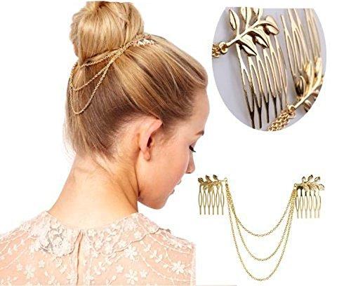 Mode à franges avec tête en métal Chaîne Bandeau Coiffe Accessoires pour femmes filles Lady 23 cm 22,9 cm Doré