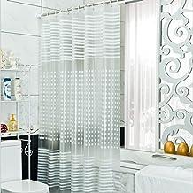 Diossad Cortina de Ducha Transparente Impermeable Resistente al Moho PEVA Cortina de Baño Incluye 12 Anillos Blancos de La Cortina