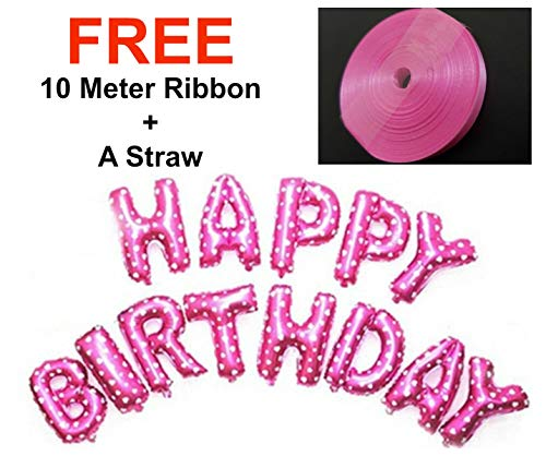 Luftballons zum Aufhängen, Aufschrift Happy Birthday Alphabet Ballons, 40,6 cm, Rosa