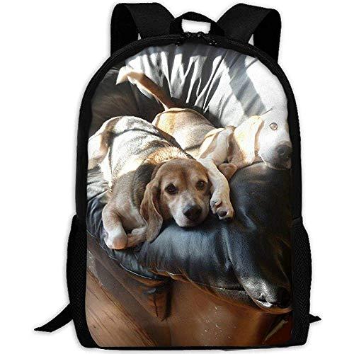 Bookbag Happy Couch Beagle Erwachsener Reiserucksack Schule Casual Daypack Oxford Outdoor Laptop Tasche College Computer Umhängetaschen