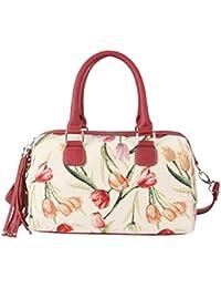 Bolso tapiz Signare de moda para mujer asa superior bolso de hombro Tulipán blanco