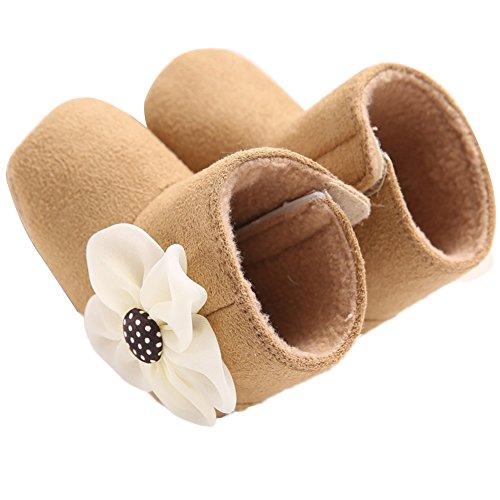 WAYLONGPLUS Baby Kleinkind-Mädchen Prewalker Schuhe Baumwolle Anti-Rutsch weiche Stiefel Braun