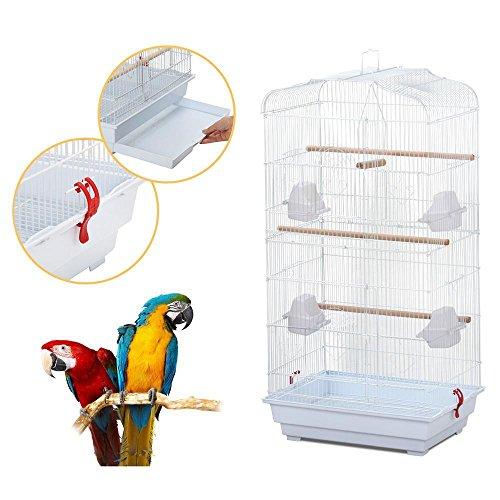 Yahee gabbia bianca grande per uccelli in metallo e legno 46 x 36 x 92 cm gabbia cocorite voliera per pappagalli